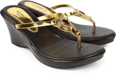 Series From Jove Women Brown, Gold Wedges