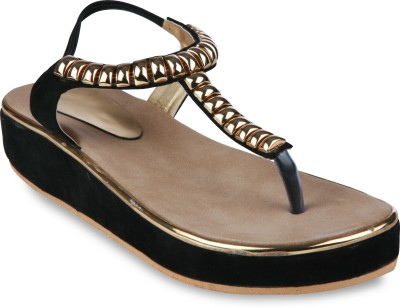 Studio 9 Starry Sandals Women Black, Gold Flats