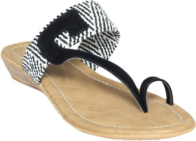 Shoe Bazar Women Black, White Flats