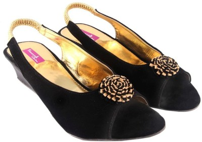 Vinayak Collection Women Black Wedges