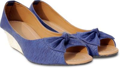 Wood Word Women Blue Wedges