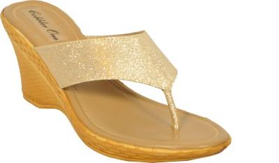Cobblerone Women Gold Wedges