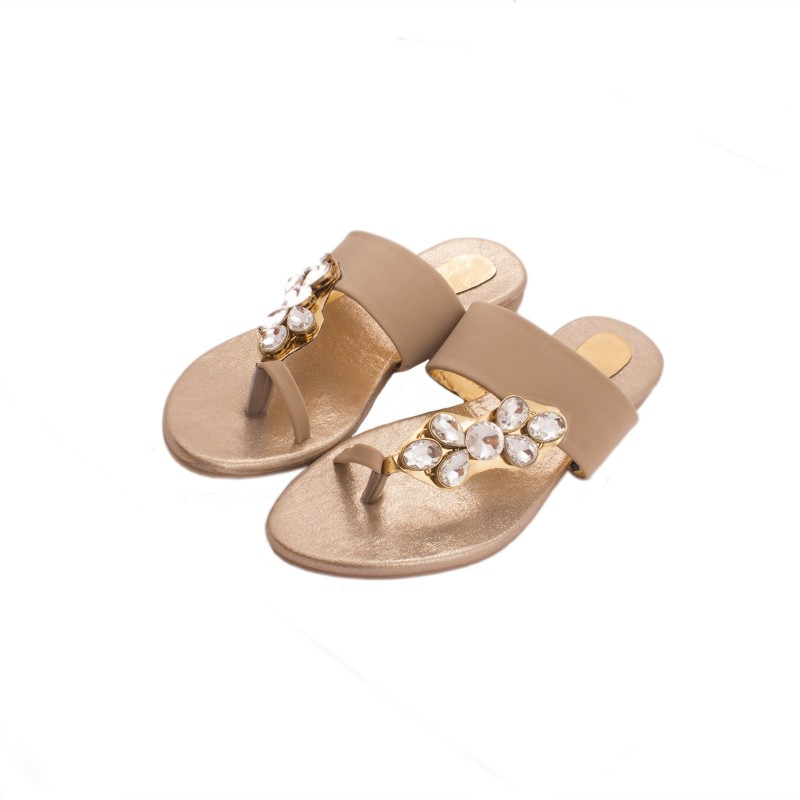 M A Enterprise Women Beige Gold Flats