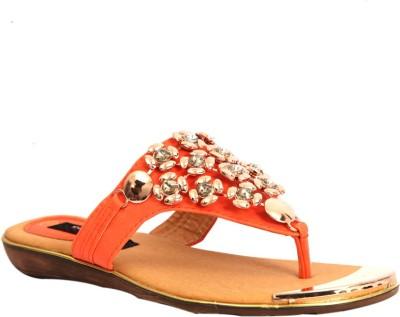 Trilokani Super Fancy Women Orange Flats