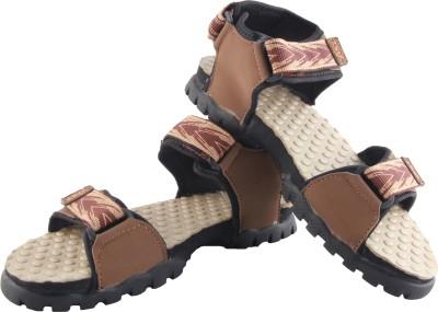 Zapatoz Men Black, Beige Sandals