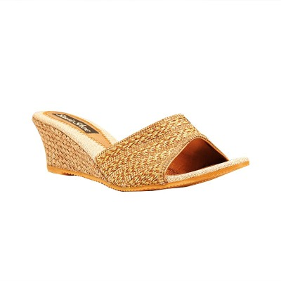 Savie Shoes Women Gold Wedges