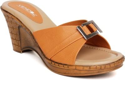 Vendoz Women Tan, Orange Wedges