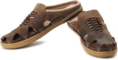 tZaro Horse Stitch Men Brown Sandals