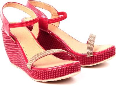 Monaliza Women Red, Beige Wedges