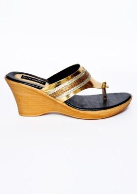 Marie Comfort Girls Gold, Black Wedges
