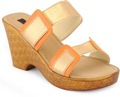 A Click Away Women Brown, Orange Wedges