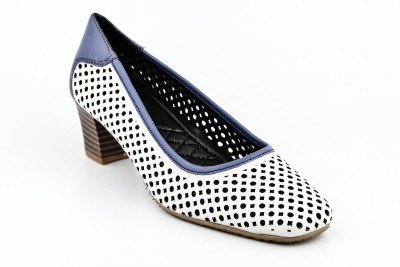 Lee Cooper Women White, Blue Heels