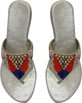 FOOBAA Women Silver, Gold, Multicolor Wedges