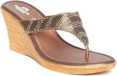 Anouk Women Brown, Gold Wedges
