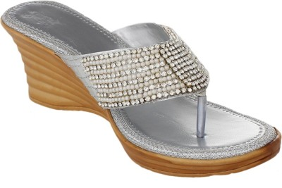 Bare Soles Women Silver Wedges