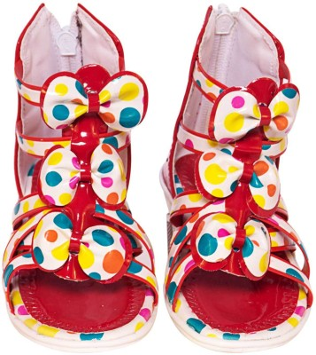 Parv Collections Baby Girls Red Sandals