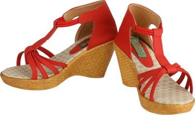 Lites Women Red, Beige Wedges
