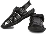 Feather Leather Men Black Sandals