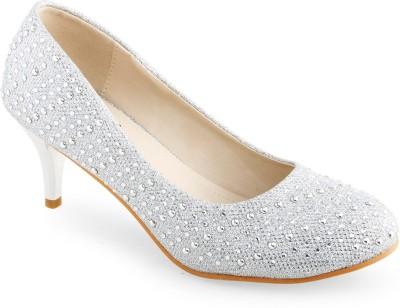 Shuz Touch Women Silver Heels at flipkart