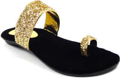 INDIANO Women Black, Gold Flats