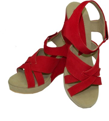 Heels And Toes Women Red Wedges
