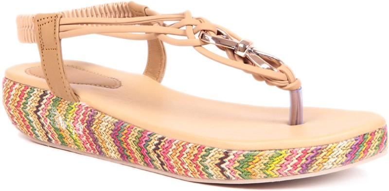 Sindhi Footwear Casual Women Beige Wedges
