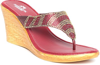 Anouk Women Red, Gold Wedges