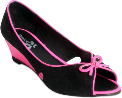 Amica Slexia Women Pink, Black Wedges
