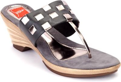 Shibha Footwear Women Black, Gold Wedges