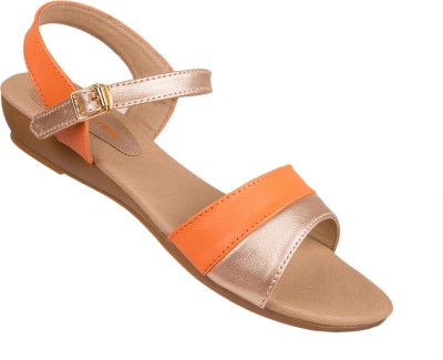 VESTIRE Women Orange, Beige Wedges