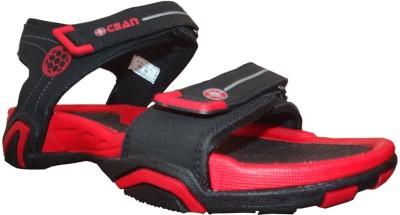Rupani Boys Black, Red Sports Sandals