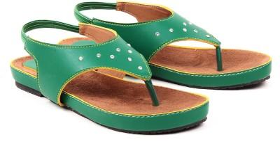 Dezire Women Green, Tan Flats