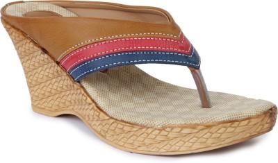Vilax Women Beige, Pink, Blue Wedges