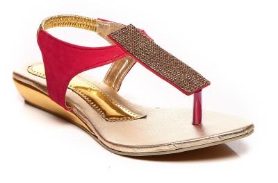 Bonzer Women Red, Gold Wedges