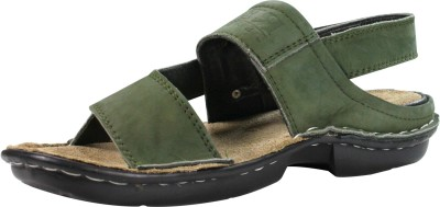 Feather Leather Men Green Sandals