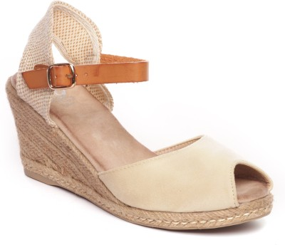Pavers England Women BEIGE Wedges at flipkart