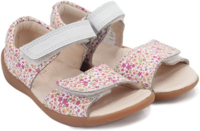 Clarks Softly Eda Fst White Combi Lea Girls Pink, White Flats
