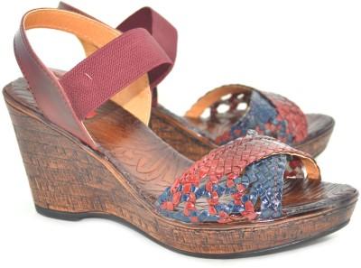 Shoedeal Women Maroon, Blue Wedges
