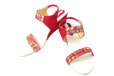 Ethnoware Women Red Wedges