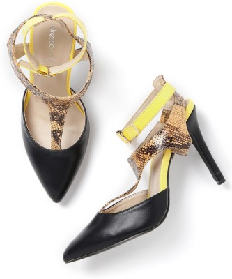 Dressberry Women Black, Yellow Heels