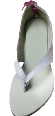 Js Footwears Women White, Maroon Flats