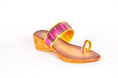 Infiniti Women Pink, Gold Wedges