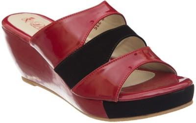 Diva Women Red, Black Wedges