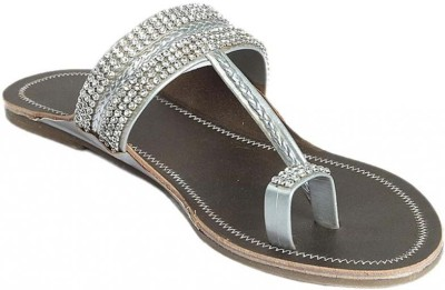 Cobblerone Women Silver Flats