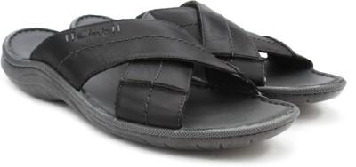 Clarks Woodlake Cross Black Leather Men Black Sandals