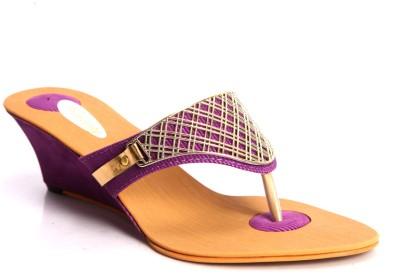 Laila Collections Women Purple Wedges