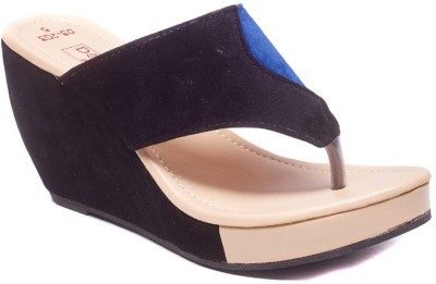 Dolphin Miles Designer Women Black Wedges