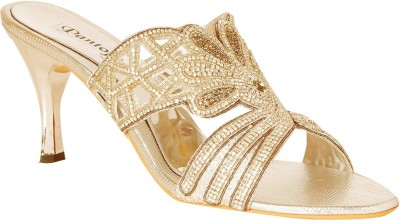 Pantof Women Gold Heels