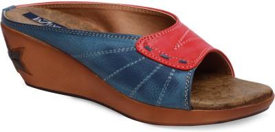 La Zilver Women Red, Blue Wedges