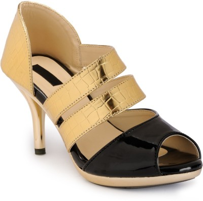 Something Different Women Gold, Black Heels